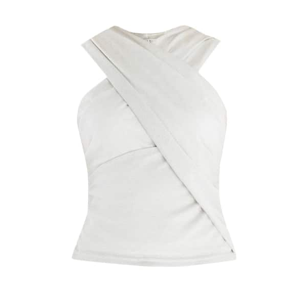 PAISIE Wrap Front Halter Neck Shimmer Top