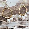 Large Karma Solid Rose Gold Circle Earrings With White Baroque & Freshwater Pearls image