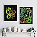 Antique Reptiles & Amphibians - Black Fine Art Print - A5 image