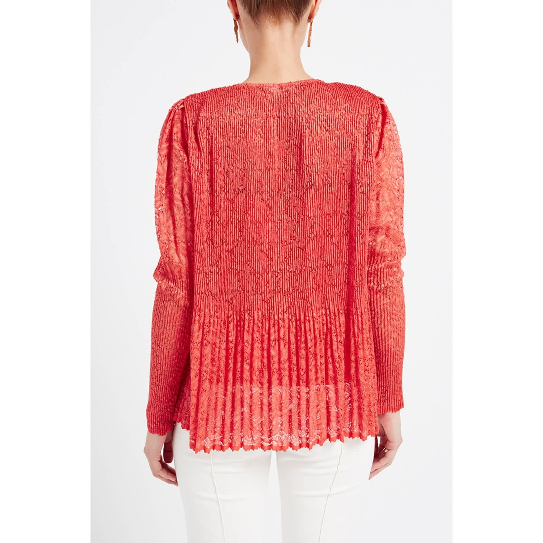 749a6703a18c1 Raksha Coral Pleated Lace Silk Blouse image