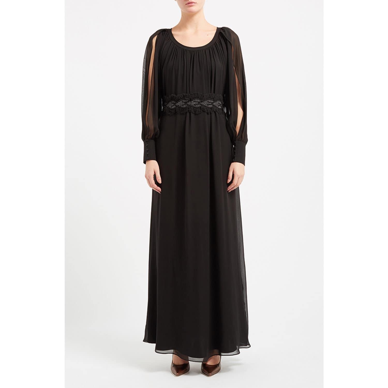 cd9ec0c999e3a WtR Black Silk Long Sleeve Maxi Dress image