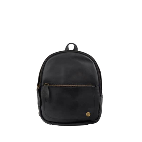 MAHI LEATHER Mini Backpack In Ebony Black Full Grain Leather