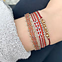 Set Of Two Bracelets In Red And Beige Tones image