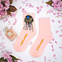 Pink Bamboo Socks With Crystal Jellyfish Brooch image