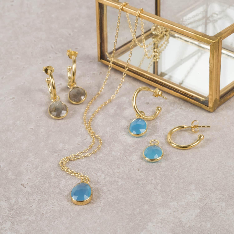 Blue Chalcedony Interchangeable Gemstone Earrings
