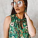 Green Gemstone Crystal 'Summer Love' Gold Earrings image