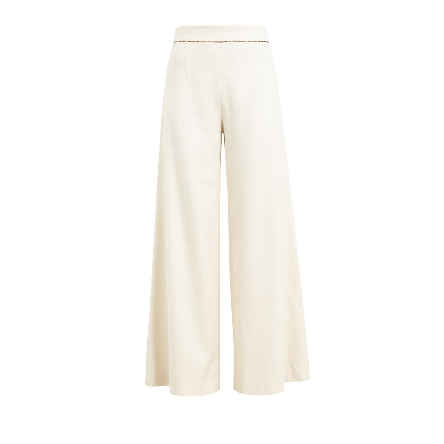 05421ef6142e WtR Cream Linen Blend Wide Leg Trousers image