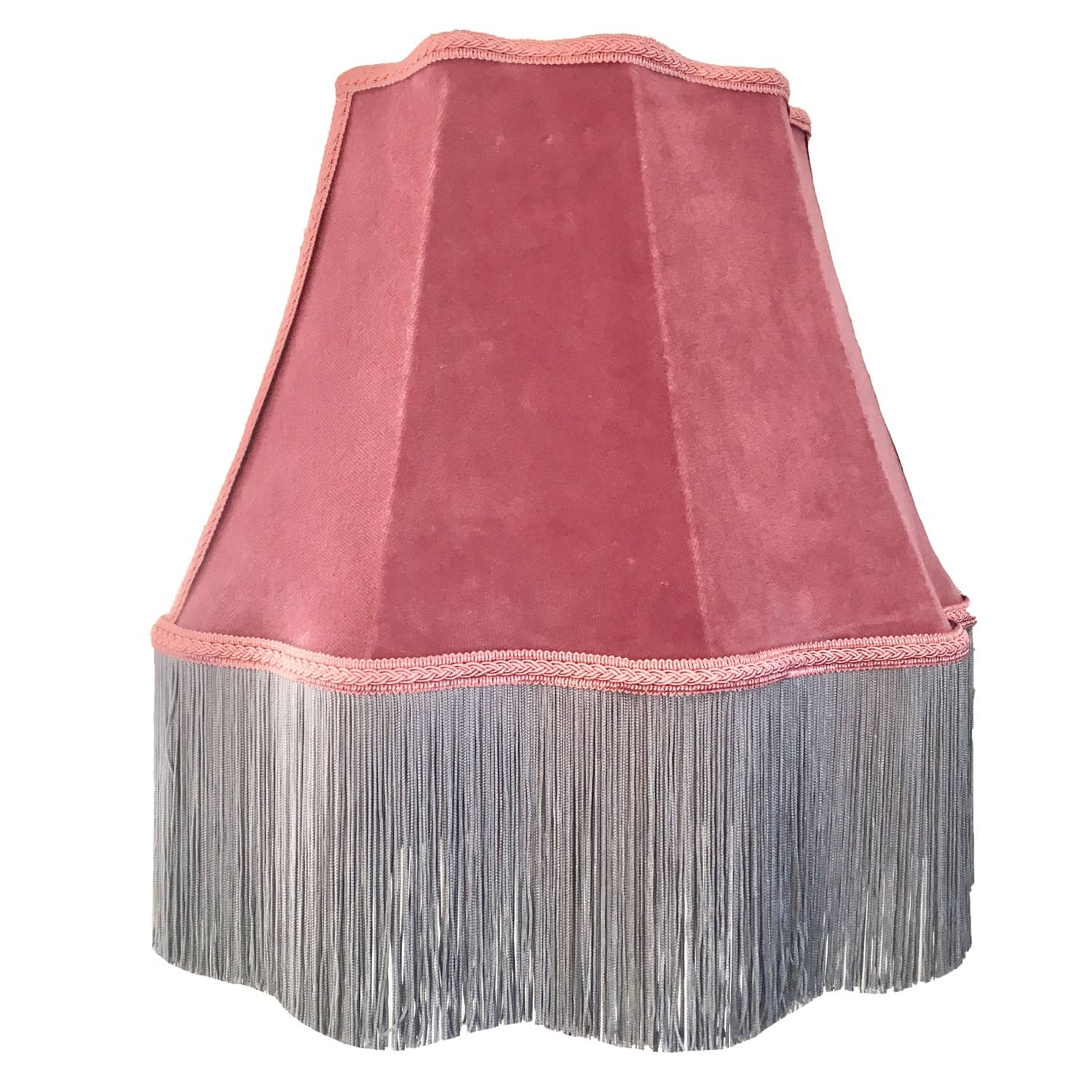 Pink Velvet Scalloped Lampshade With Grey Fringe Abigail