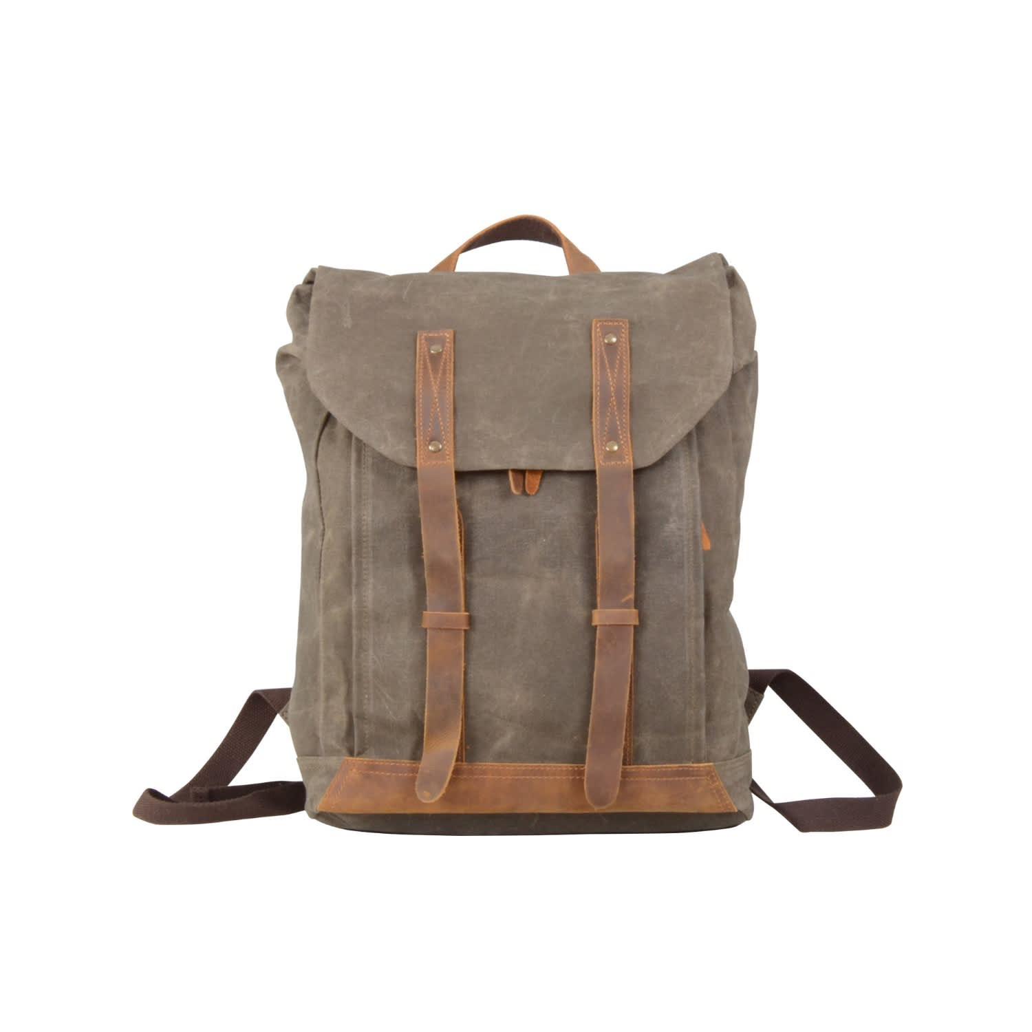 9857a664e Leather Straps Waxed Canvas Backpack Green | EAZO | Wolf & Badger