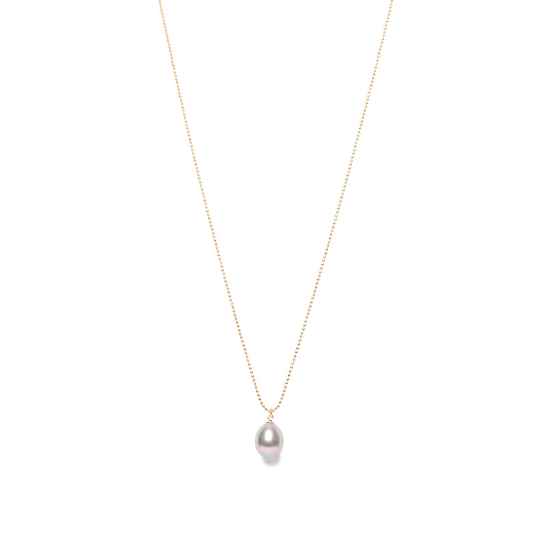 3963b47db4495 Grey Pearl Drop Pendant Gold Chain by ORA Pearls