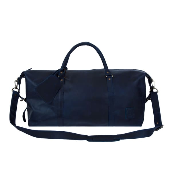 MAHI LEATHER Leather Long Armada Duffle Weekend Holdall Bag In Navy