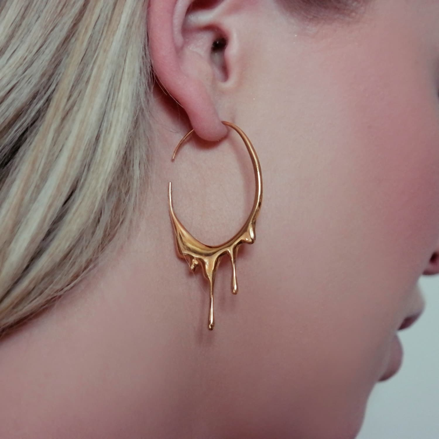 Dripping Oval Small Gold Hoops Marie June Jewelry Wolf