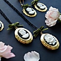 Dark Romance Rose Oval Porcelain Cameo Locket Necklace image