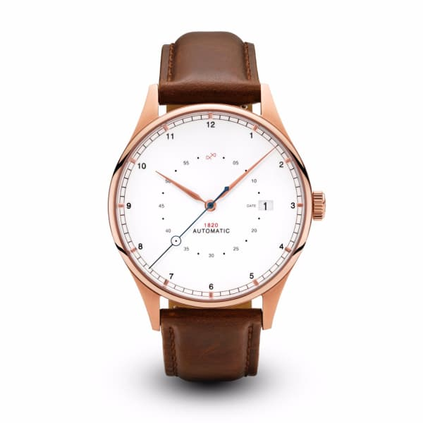 ABOUT VINTAGE 1820 Automatic Rose Gold With Dark Brown Strap