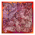 'Sleeping Dogs' Large Silk Cotton Scarf In Red Hues image