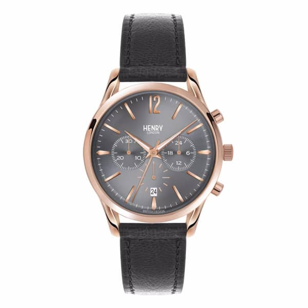 HENRY LONDON Ladies 39Mm Finchley Chronograph Leather Watch