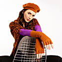 Brown Silk Cashmere Beret & Fingerless Gloves Set image