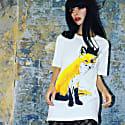 Fox With Black Crown White Organic Cotton T-Shirt image