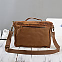 Worn Look Canvas & Leather Messenger In Cinnamon Brown image