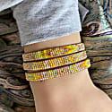 Set Of Three Bracelets In Bright Yellow & Beige Tones image