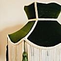 Green Velvet Crown Lampshade With Cream Fringe & Green Tassels image