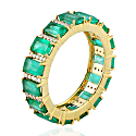 18K Yellow Gold Pave Diamond Bauette Emerald Band Ring image