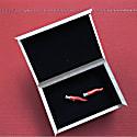 Red Horn Cufflinks In Silver & Enamel image