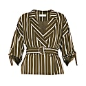 Striped Double Breasted Blazer With Adjustable Sleeves With Self Belt In Olive Green & White image
