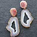 Blush White Crystal Gemstone Gold 'Summer Love' Earrings image
