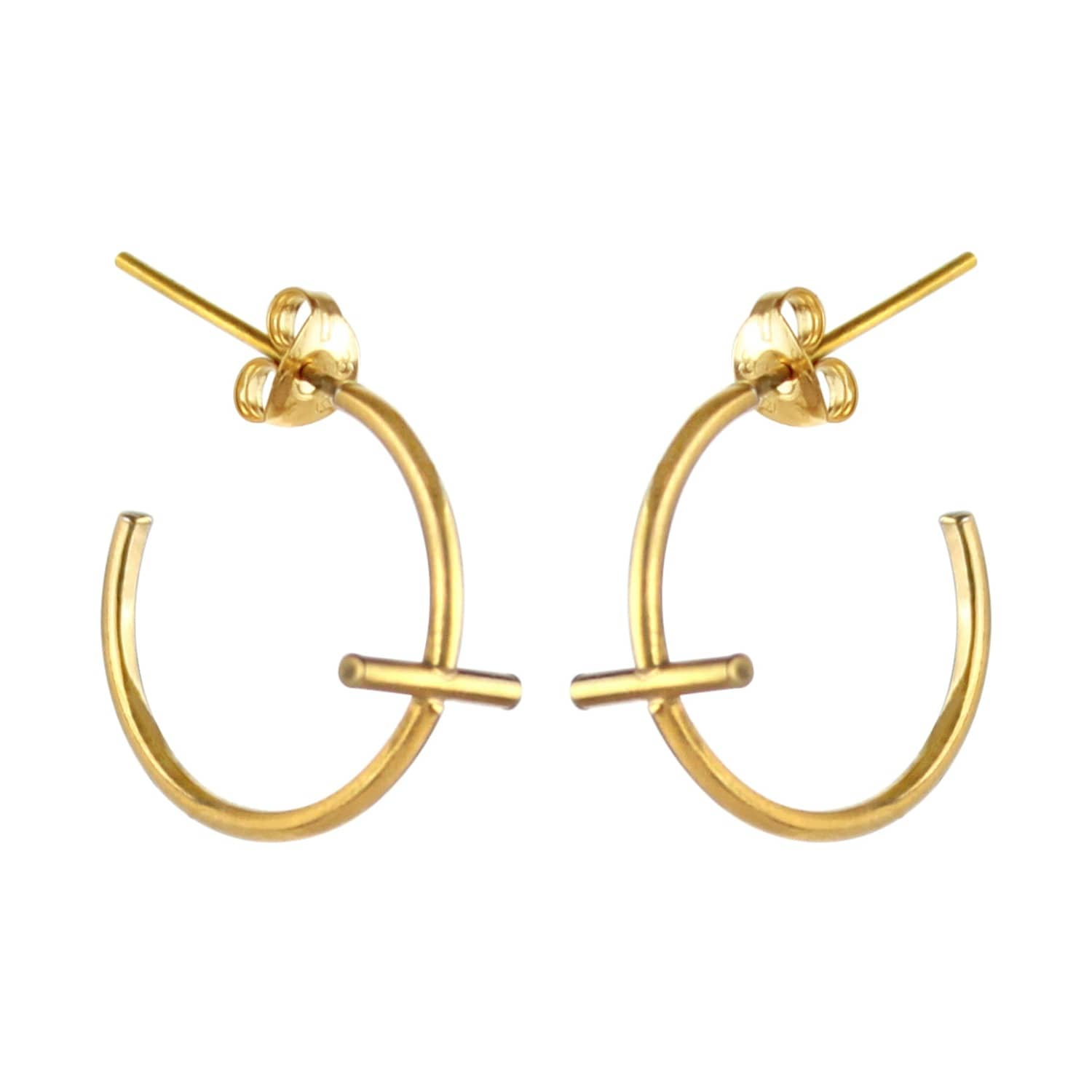 f32176447 Mini Gold Cross Hoop Earrings | Marcia Vidal | Wolf & Badger