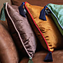 Grey Velvet Rectangular Cushion With Tassels image