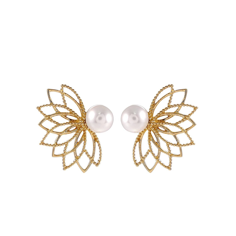 Pearl Lotus Flower Earrings Joana Salazar Wolf Badger