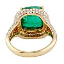 18K Yellow Gold Diamond Cocktail Ring Emerald Precious Stone Jewelry image