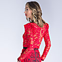 Dylan Semi Sheer Red Embroidered LaceTop image