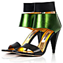 Metallic Finish Leather Sandals Green image
