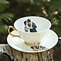 Kissing Couple Teacup & Saucer image