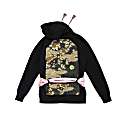 Crane In The Sky - Upcycled Black Hoodie With Obi Belt image