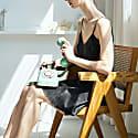 Classic Elegant Silk Chemise Dress - Black image