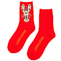 Bright Red Bamboo Socks With Crystal Lobster Brooch image