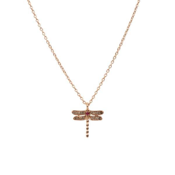LATELITA LONDON Diamond & Ruby Dragonfly Necklace Rosegold