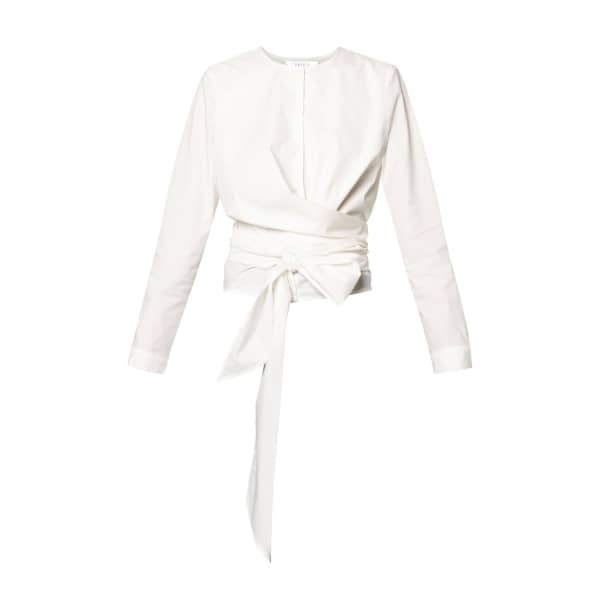 PAISIE Button Front Blouse With Waist Tie Wrap In White