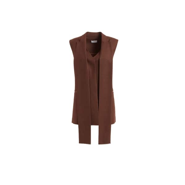 WTR  Derain Brown Wool And Cashmere Scarf Detailed Gilet