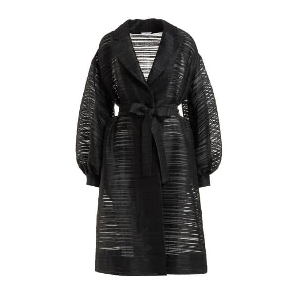 Carlotta Black Organza Wrap Front Trench Coat