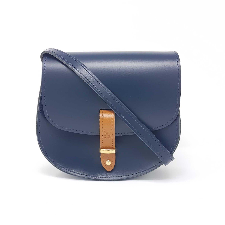 bdcf3e4581 Mini Victoria Navy Leather Crossbody Saddle Bag image