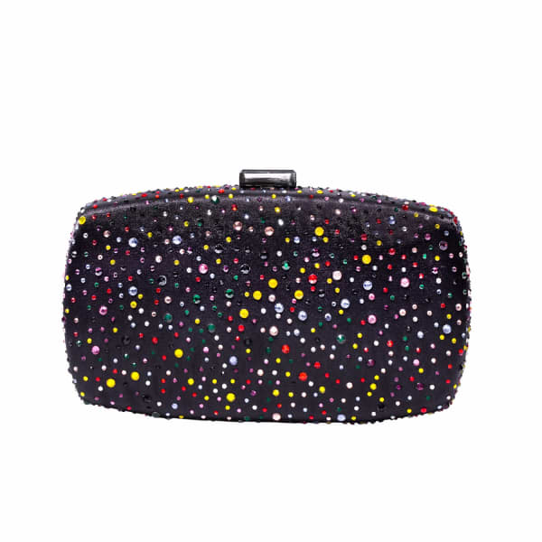 NISSA Silk Clutch With Colored Crystals