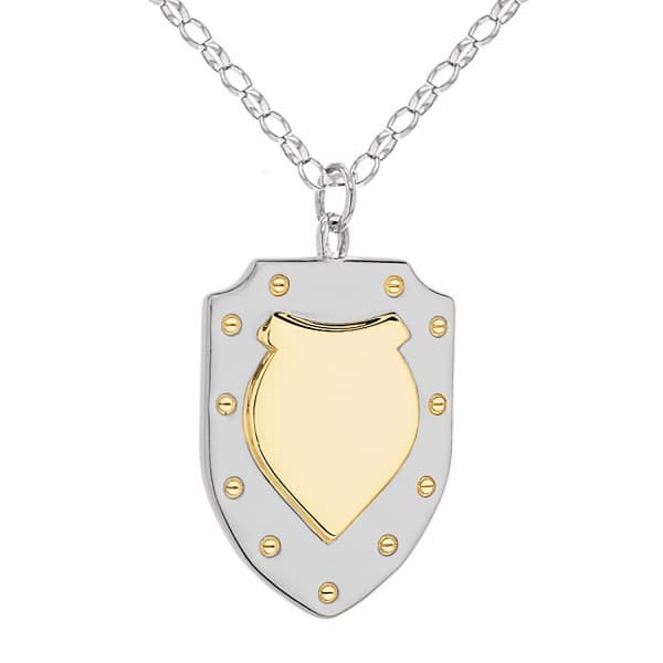True Rocks Two Tone Silver and Gold Large Vintage Style Shield Pendant