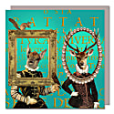 Set Of Five Greeting Cards With Envelopes featuring Deer in Vintage Frames image