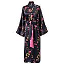 Long Silk Kimono Robe - Deep Purple image