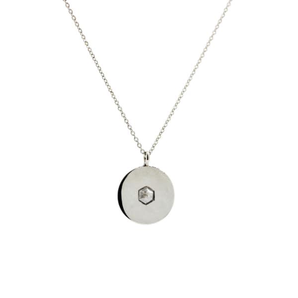 NO 13 Hexagon Diamond Pendant Necklace - Silver