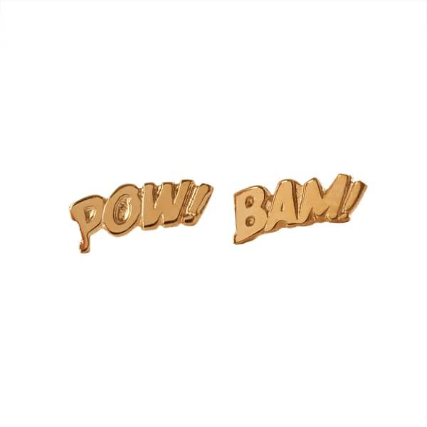 EDGE ONLY Pow & Bam Letter Earrings In Gold